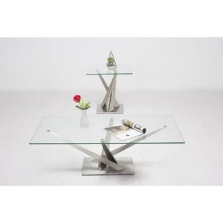 Somette Joanna Geometric Pedestal Cocktail Table with Glass Top