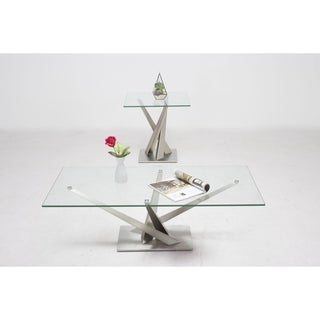 Somette Joanna Geometric Pedestal Cocktail Table with Glass Top - 24 x 48 x 15