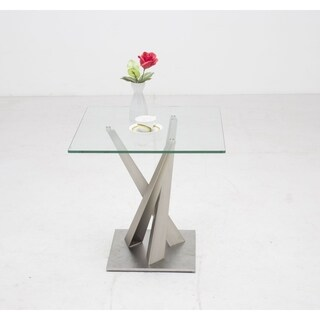 Somette Joanna Geometric Pedestal Lamp Table with Glass Top