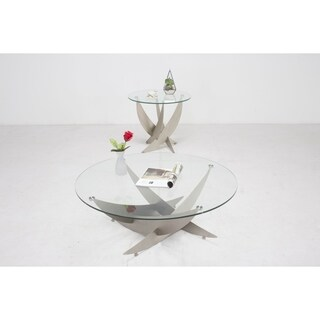 Somette Skyler Art Deco Cocktail Table with Round Glass Top