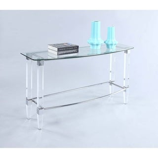 Somette Giselle Metal Sofa Table with Glass Top