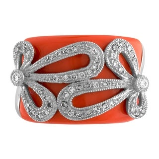 JewelMore 14k 1/2ct Diamond & Coral Ring - White
