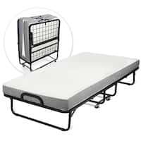 Milliard Diplomat Rollaway Folding Twin-size Guest Bed with Luxurious Memory Foam Mattress and Super Strong 75 x 38 Sturdy Frame