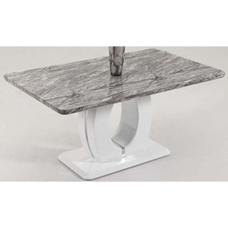 Somette Serenity Marble Dining Table - Grey/White