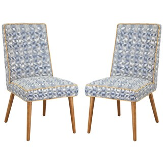 Blue/Off-white Fabric/Wood Dining Chair (Set of 2)
