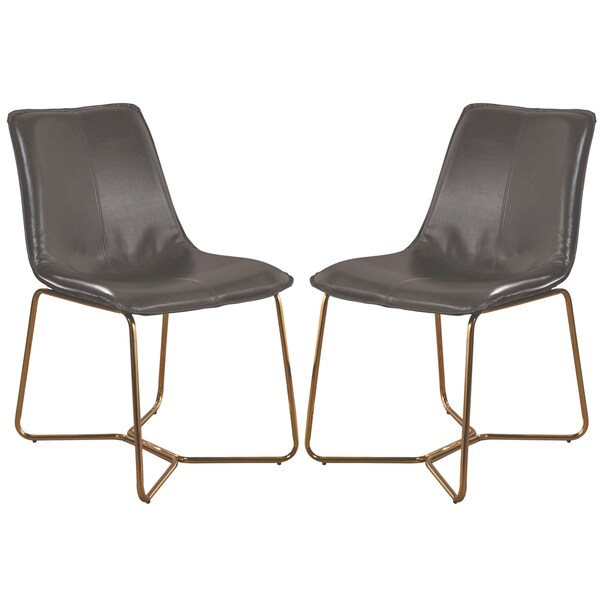Grey Gold Tone Faux Leather Metal Dining Chair Set Of 2