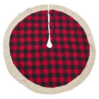 Classic Red And Black Buffalo Plaid Tree Skirt With Sherpa Trim