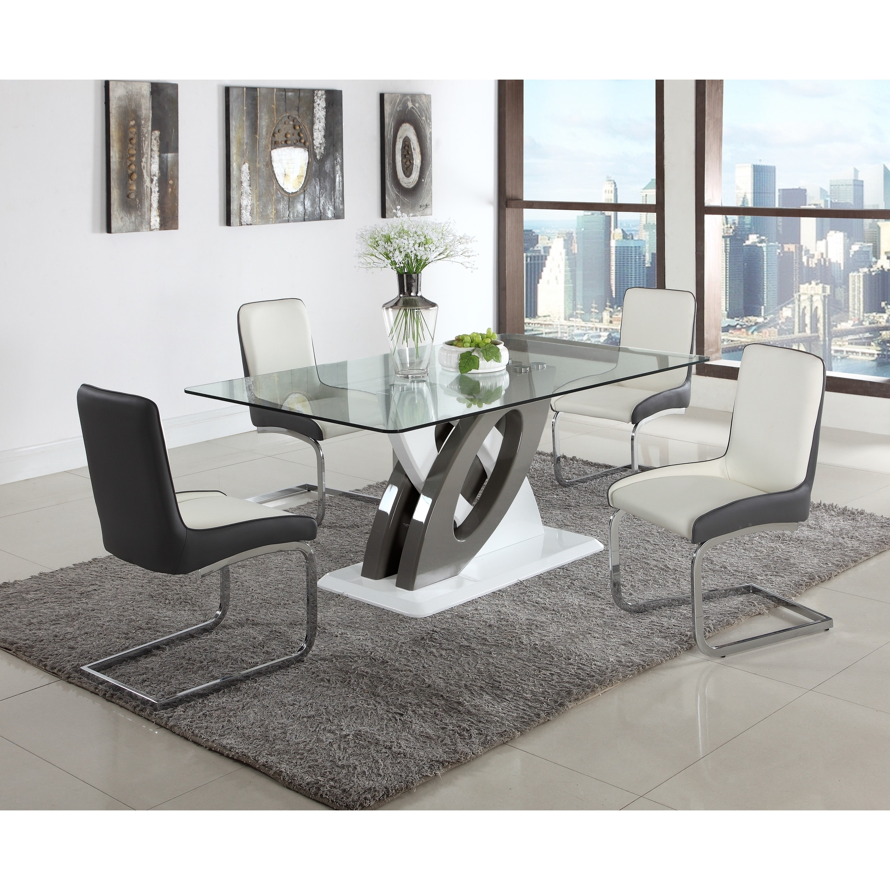 Somette Sophie Gl Top Dining Table Grey White