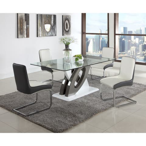 Somette Sophie Glass Top Dining Table - Grey/White