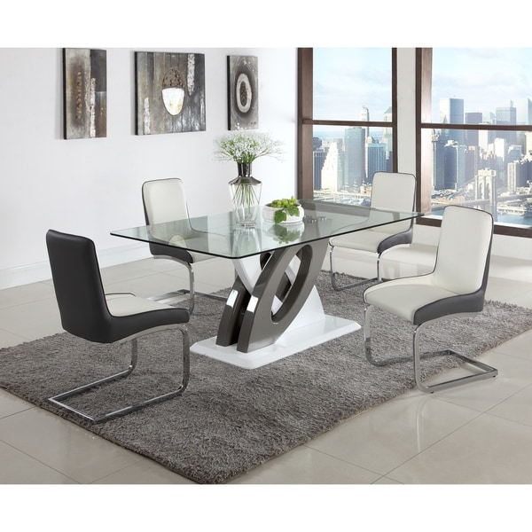 Somette Sophie Glass Top Dining Table   Grey/White