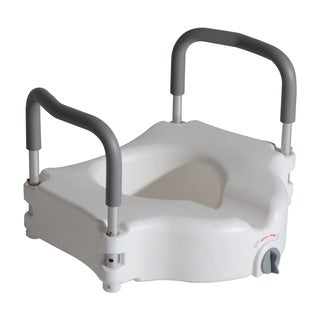 HomCom Medical Raised Toilet Seat Riser with Lock and Removable Arms White