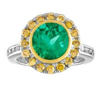 JewelMore 4.85ct Platinum and 18k Colombian and Netural Canary Diamond Ring  (F-G / VS1-VS2) - White