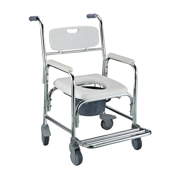 HomCom 36-inch Toilet Commode Transport Chair with Wheels Gray ...