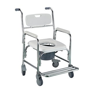 HomCom 36-inch Toilet Commode Transport Chair with Wheels Gray