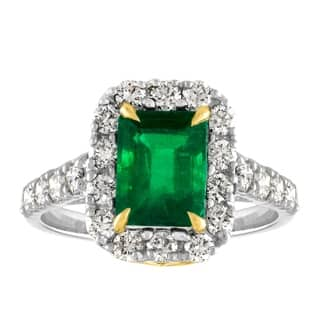 JewelMore 18K 2.39 ct.tw Colombian Emeraled with Diamond Ring (VS1-VS2, F-G) - White|https://ak1.ostkcdn.com/images/products/18059106/P24222511.jpg?impolicy=medium