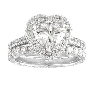 JewelMore 2.60ct Heart Shape Halo Pave Bridal Set in Platinum - White