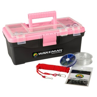 Fishing Single Tray Tackle Box- 55 Piece Tackle Gear Kit Wakeman Outdoors