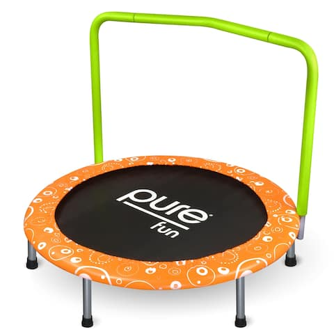 Pure Fun Foldable 36-inch Kids Trampoline with Handrail, Spring Free