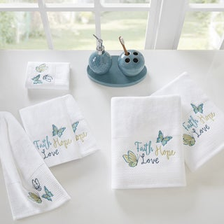 Madison Park Inspiration Blue Embroidered 6-Piece Cotton Terry Towel Set