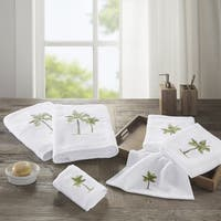 Madison Park Areca Green Embroidered 6-Piece Cotton Towel Set
