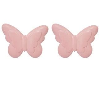 """38"""" Nickel Curtain Rod w Butterfly Finials"""