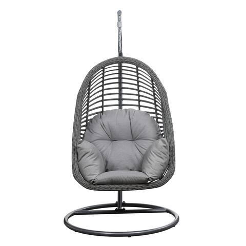 Emerald Home San Marino Spuncrylic Sketch Grey Outdoor Hanging Basket Chair