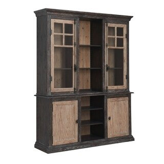 Emerald Home Barcelona Dark Brown and Rustic Pine China Cabinet with Glass Doors, Adjustable Shelves, And Touch Lighting
