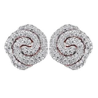 14k Rose Gold 1.2 Carat Swirl Petal Stud Earrings