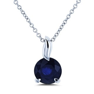 Annello by Kobelli 14k White Gold Round Blue Sapphire Solitaire Pendant and Chain Necklace