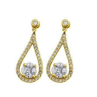 14k Yellow Gold Floating Diamond Teardrop Earrings