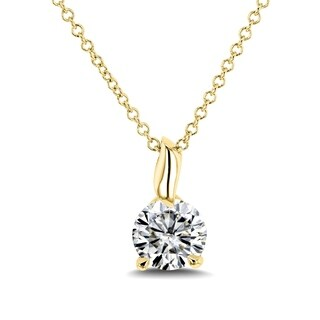 Annello by Kobelli 14k Gold 4/5 Carat (6mm) Round Moissanite (HI) Solitaire Pendant and Chain