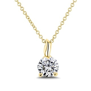 Annello by Kobelli 14k Gold 4/5 Carat (6mm) Round Moissanite (FG) Solitaire Pendant and Chain
