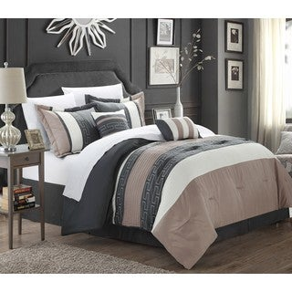 Chic Home Rosswell Taupe and Grey Embroidered Striped Color 10 Piece Comforter Bed in a Bag
