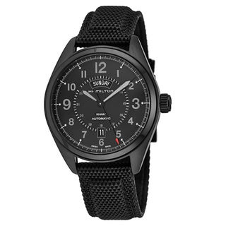 Hamilton Men's H70695735 'Khaki Field' Black Dial Black Fabric Strap GMT Swiss Automatic Watch