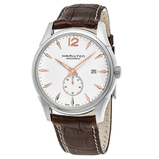 Hamilton Men's H38655515 'Jazzmaster' Silver Dial Brown Leather Strap Swiss Automatic Watch
