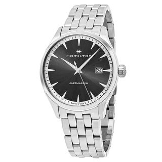 Hamilton Men's H32451181 'Jazzmaster' Grey Dial Stainless Steel Swiss Quartz Watch
