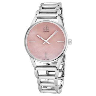 Calvin Klein Women's K3G2312E 'Stately' Pink Mother of Pearl Dial Stainless Steel Swiss Quartz Watch