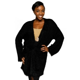 Xehar Womens Fuzzy Open Front Belted Cardigan Sweater
