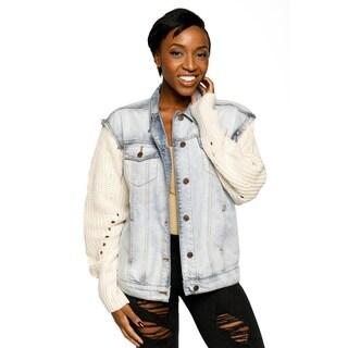 Xehar Womens Casual Mixed Media Light Wash Denim Jacket