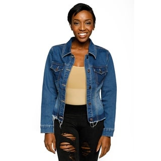 Xehar Womens Fitted Frayed Hem Button Down Collared Denim Jacket