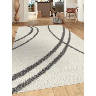 """Porch & Den Rampart Soft Stripe Cream White Indoor Shag Area Rug - 7'10"""" x 10'"""
