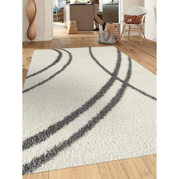 Porch & Den Marigny Rampart Soft Stripe Cream White Indoor Shag Area Rug - 7'10 x 10'