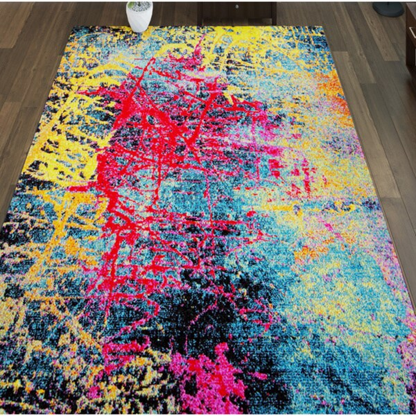 Porch & Den Hickory Red/ Yellow/ Blue Paint Splashes Area Rug - 7'10 x 10'2