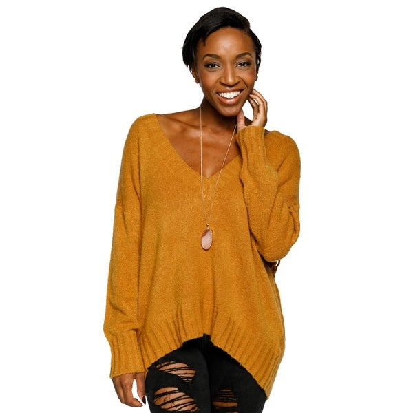 30e3d17fee Shop Xehar Womens Stylish V-Neck Pullover Lace Up Back Knit Sweater ...