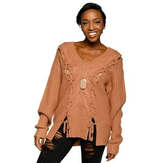 Xehar Womens Casual Cable Knit Lace Up V-Neck Long Sleeve Sweater