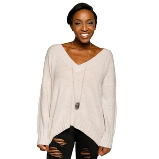 Xehar Womens Stylish V-Neck Pullover Lace Up Back Knit Sweater