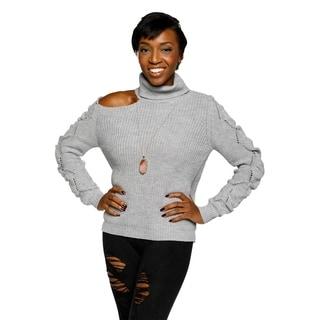 Xehar Womens Cold Shoulder Turtleneck Eyelet Knit Pullover Sweater