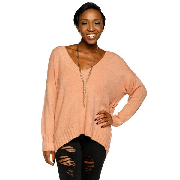bf6b4fe32fed Shop Xehar Womens Stylish V-Neck Pullover Lace Up Back Knit Sweater ...