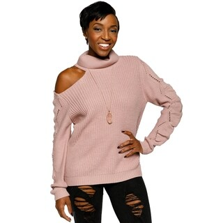 Xehar Womens Cold Shoulder Turtleneck Eyelet Knit Pullover Sweater|https://ak1.ostkcdn.com/images/products/18060178/P24223411.jpg?_ostk_perf_=percv&impolicy=medium