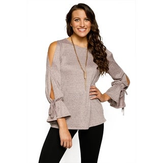 Xehar Womens Casual Stylish Mini Bell Sleeve Cold Shoulder Knit Top (Small)